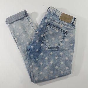 Zara TRAFALUC size 2 polka dot skinny jeans